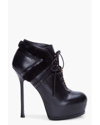 Saint Laurent | Blue Black Tribtoo Shearling Ankle Boots | Lyst