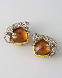 Alexis Bittar - Brown Pave Panther Clip Earrings - Lyst