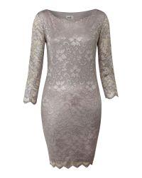 John Zack | Gray Long Sleeve Metallic Lace Dress | Lyst
