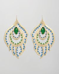 Kendra Scott | Green Paula Feather Earrings | Lyst
