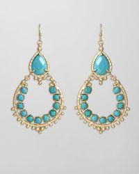 Kendra Scott | Blue Multi Stone Drophoop Earrings | Lyst