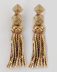 Oscar de la Renta | Metallic Tasselknot Earrings | Lyst