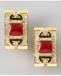 Rachel Zoe | Red Rectangular Clip Earrings  | Lyst