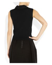 Lanvin - Black Embellished Wool Top - Lyst