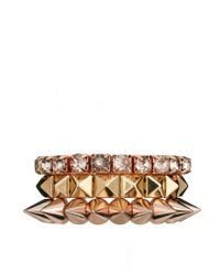 ASOS | Metallic Pyramid Spike Stone Bracelet Pack | Lyst