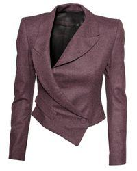 Jean-Pierre Braganza | Purple Asymmetric Cropped Tweed Blazer Lilac | Lyst