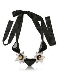 Marni | Black Resin Stones On Silk Satin Necklace | Lyst