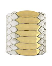 Vince Camuto - Metallic Two Tone Snake Texture Cuff Bracelet - Lyst