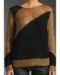 Alice + Olivia | Opal Novelty Stitch Pullover in Beigeblack | Lyst