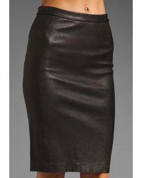 VINCE | Black Leather Pencil Skirt | Lyst