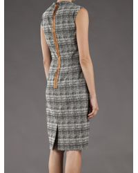 Lela Rose | Gray Blurred Plaid Dress | Lyst