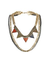 TOPSHOP | Metallic Triangle Multi Row Necklace | Lyst