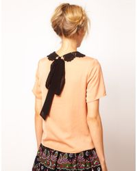ASOS Collection   Orange T-Shirt with Contrast Crochet Collar   Lyst