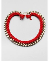 Aurelie Bidermann | Red Do Brasil Thread and Chain Necklace | Lyst