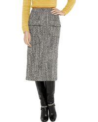 Easton Pearson | Gray Chevron Tweed Midi Skirt | Lyst