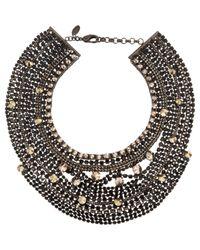 Iosselliani - Metallic Black Crystal Large Collar - Lyst