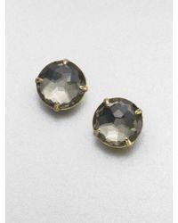 Ippolita - Gray 18k Gold Pyrite Doublet Stud Earrings - Lyst