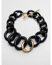 Kara Ross | Black Two-Tone Chain Link Necklace | Lyst