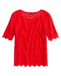 Madewell - Red Scallop Lace Top - Lyst