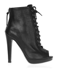 Miu Miu - Black Lace-up Leather Ankle Boots - Lyst