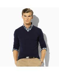 Polo Ralph Lauren   Blue Cashmere V-neck Sweater for Men   Lyst