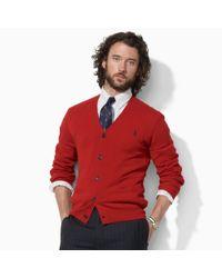Polo Ralph Lauren | Red Suedepatch Merino Cardigan for Men | Lyst