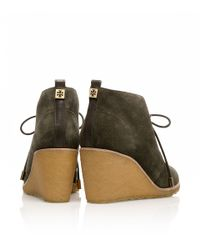 Tory Burch - Green Vicki Suede Mid Wedge Bootie - Lyst