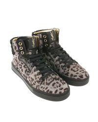 Saint Laurent | Beige Leopardprint Calfhair High Sneakers | Lyst