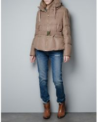 Zara | Natural Short Puffer Jacket in Fantasy Fabric | Lyst