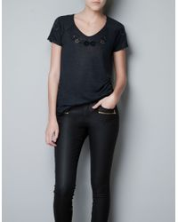 Zara | Gray Romantic Embroidered T-shirt | Lyst