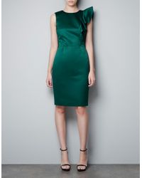 Zara | Green Dress with Asymmetric Shoulder and Frill | Lyst