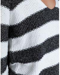 Zara | Gray Striped Moss Stitch Sweater | Lyst