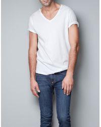 Zara | White V-neck T-shirt for Men | Lyst