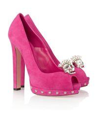 Alexander McQueen | Pink Skullembellished Suede Pumps | Lyst