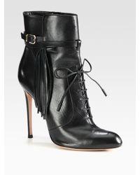 Altuzarra | Black Leather Fringe Lace Up Ankle Boots | Lyst
