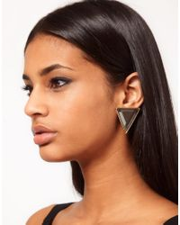 ASOS | Black Stone Triangle Stud Earrings | Lyst