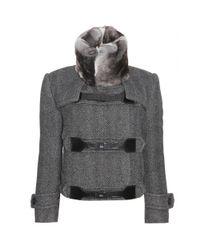 Burberry Prorsum | Gray Herringbone Jacket with Fur Collar | Lyst