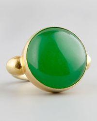 Devon Leigh | Green Jade Gold Ring | Lyst