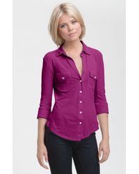 James Perse | Purple Button Front Jersey Shirt | Lyst