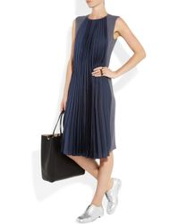Maison Margiela | Blue Crepe and Pleated Silk Dress | Lyst