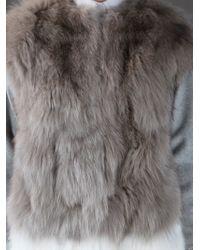 MSGM - Gray Fox Fur Coat - Lyst