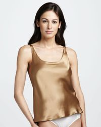 Natori - Metallic Silk Camisole Caramel - Lyst
