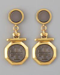 Tory Burch | Metallic Daren Logocharm Earrings | Lyst