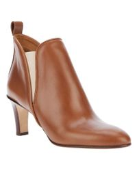 Chloé | Brown Mid Heel Ankle Boot | Lyst