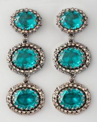 Fragments | Green Threestone Drop Earrings | Lyst