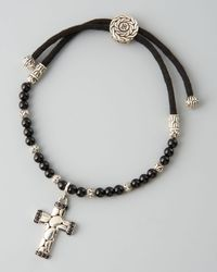 John Hardy | Black Cross Charm Bracelet for Men | Lyst