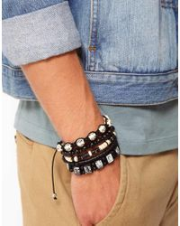 River Island - Black Bracelet Pack for Men - Lyst
