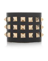 Valentino - Black Studded Leather Cuff - Lyst