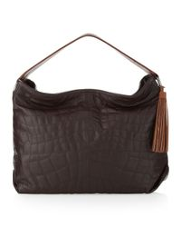 BCBGMAXAZRIA Brown Quilted Leather Hobo Bag