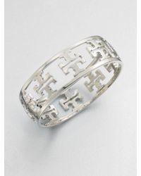 Tory Burch - Metallic Reverse Cutout Logo Bangle Bracelet - Lyst